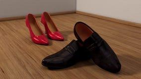 Buty mężczyzna dostaje uszkadzający kobieta i zbiory wideo