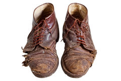 buty odizolowywali starego stary być ubranym Fotografia Stock