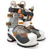 buty są izolowane narciarskiego white Zdjęcia Stock