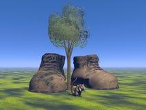Buty siwieją i mysz Obrazy Stock