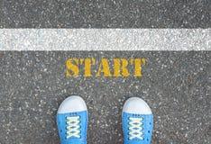 Buty stoi przy początek linią Fotografia Stock