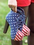 Buty w flaga amerykańska stylu Zdjęcie Royalty Free