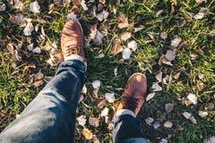 Buty z kolory żółci spadać liśćmi w jesieni Zdjęcia Royalty Free