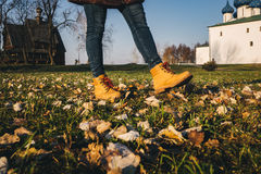 Buty z kolory żółci spadać liśćmi w jesieni Zdjęcie Royalty Free