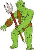 Butzkopf-Kriegers-Monster-Trident-Karikatur Lizenzfreies Stockfoto