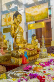 The Buudha statue. KANDY, SRI LANKA - NOVEMBER 28, 2016: The golden Buddha statue on Temple of Sacred Tooth, on November 28 in Kandy Stock Photo