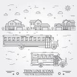 Buurt met huizen en schoolbussen op wit worden geïllustreerd dat Stock Afbeeldingen