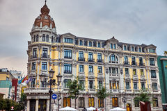 Buurten van de oude stad van Oviedo op 20 Oktober, Spanje Stock Foto's
