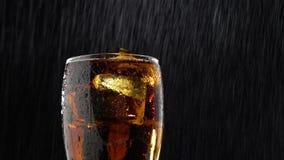 Buvez dans un verre avec des gouttes de glace et d'égouttement de l'eau Fond noir banque de vidéos