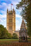 Buxton Memorial Fountain in Victoria Tower Gardens with House of. Buxton Memorial Fountain, a memorial and drinking fountain in Victoria Tower Gardens public royalty free stock images