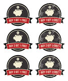 Buy 1 Get 1 Free retro grunge badges set Royalty Free Stock Photos