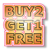 Buy 2 get 1 free. The illustration of buy two get one free on white background Royalty Free Stock Photos