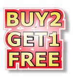 Buy 2 get 1 free stock illustration