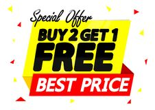 Free Buy 2 Get 1 Free, Sale Banner Design Template, Discount Tag, App Icon, Vector Illustration Royalty Free Stock Photography - 190999797