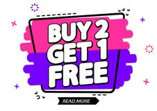 Free Buy 2 Get 1 Free, Sale Banner Design Template, Discount Tag, App Icon, Vector Illustration Stock Photos - 190999833