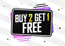 Free Buy 2 Get 1 Free, Sale Banner Design Template, Discount Tag, App Icon, Vector Illustration Stock Photo - 190999860