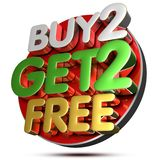 Buy 2 Get 2 Free 3d.with Clipping Path. Royalty Free Stock Image