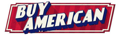 Buy American Tin Sign Retro Vintage Look. Red white blue embossed isolated metal 1940s 1950s 1960s stock illustration