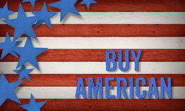 Buy American US American flag concept background Stock Photos