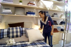Buy bedding in shopping malls, in china Royalty Free Stock Image