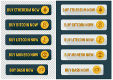 Buy bitcoins now. icons in a flat style Stock Photos