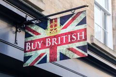 Buy British. A sign in Bath, England telling people to buy British goods Royalty Free Stock Photos