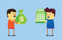 Buy business with money. Businessman use money buy business of another. This illustration meaning to takeover in business Royalty Free Stock Image