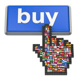 Buy button. And hand cursor with flags of the world Royalty Free Stock Photo