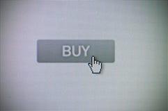 Buy button. Cursor clicking a buy button stock photo