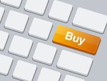 Buy Button on Blank White Keyboard. Vector Royalty Free Stock Photo