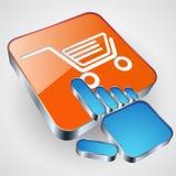 Buy button. The buy button with blue hand cursor Stock Photos