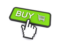 Buy button. Computer cursor clicking on a buy button (3d render&#x29 Stock Images