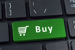 Buy button computer keyboard with trolley icon. Royalty Free Stock Images