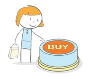 Buy Button. Doodle stick figure pushing buy internet button Stock Image