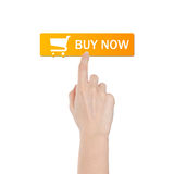 Buy button with real hand isolated on white background. Buy button with real hand isolated on white Stock Photos