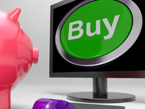 Buy Button Screen Shows Online Retail Trade Stock Image