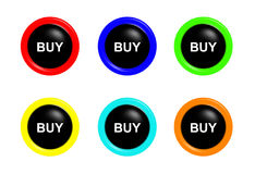 Colorful set of buy buttons Royalty Free Stock Photos