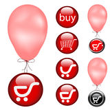Buy buttons with fly balloon Royalty Free Stock Image
