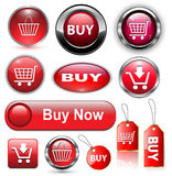 Buy buttons, icons set. Buy icons buttons set, red Stock Photography