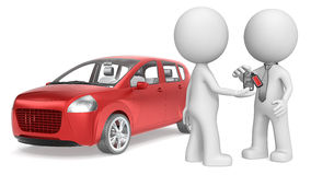 Buy a Car. The dude 3D character getting Keys to Red Car. No Branded Royalty Free Stock Photography