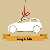 Buy a car. Icon with red ribbon on light brown background Royalty Free Stock Photo