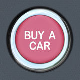 Buy a Car Push Button Start Browsing Shopping for Vehicle. A red ignition button with the words Buy a Car representing the need to browse and shop for a new Stock Photo