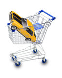 Buy Car Shopping Cart. A car in a shopping cart isolated on white Royalty Free Stock Photo