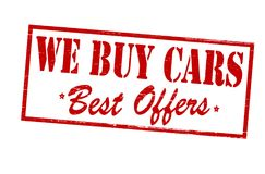 We buy cars. Rubber stamp with text we buy cars inside,  illustration Stock Photos