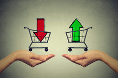 Buy or cell concept. Stock market trading. Two hands with consumer baskets Royalty Free Stock Image