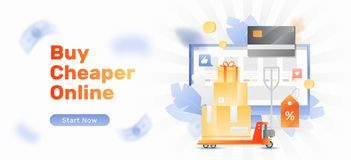 Buy Cheaper Online Banner. Banner template of online shop. Vector platform trolley, cargo, discount tag and credit card over a computer screen with internet shop stock illustration