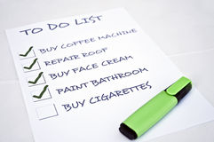 Buy cigarettes. To do list with buy cigarettes Royalty Free Stock Image