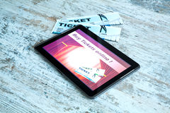 Buy Cinema Tickets online with a Tablet PC Royalty Free Stock Images