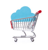 Buy cloud computing service. Concept. Cloud in shopping cart on white background stock photography