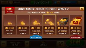 Buy coins pop-up Royalty Free Stock Images